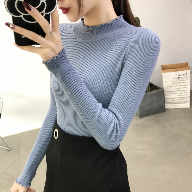 fit turtleneck Undercoat ruffle Sweater Women casual Knitted solid Sweater  1
