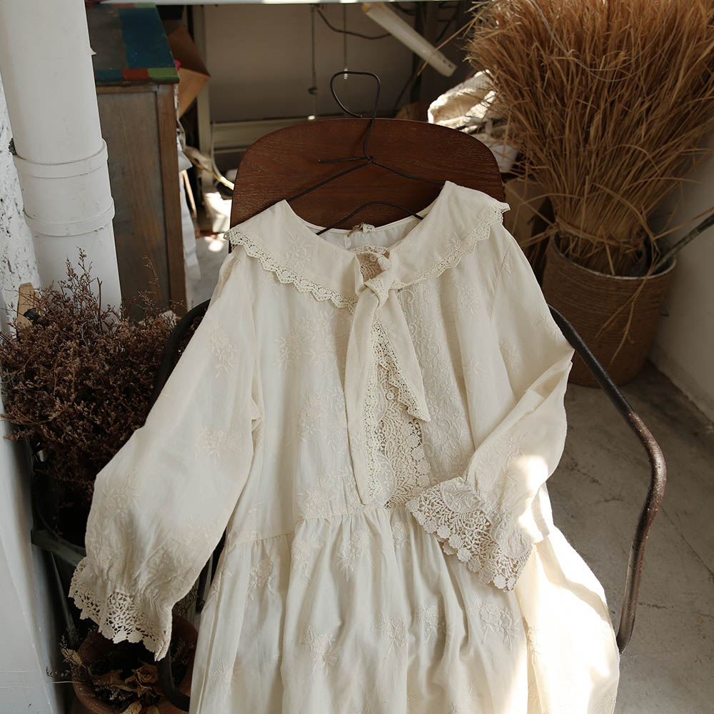 Lamtrip Autumn Cotton Embroidery Tie Peter Pan Collar Mid Length Lolita Hook Dress Mori Female|Dresses| - AliExpress