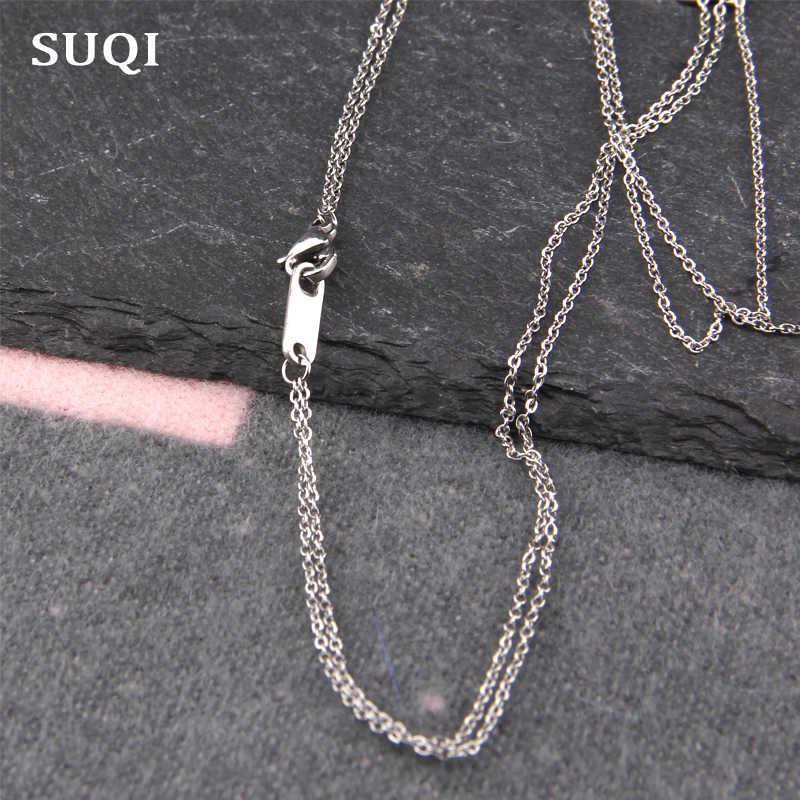 SUQI Boho Collares para mujer Vintage Acero inoxidable Cadena de plata larga perla declaración multicapa COLLAR COLGANTE joyería