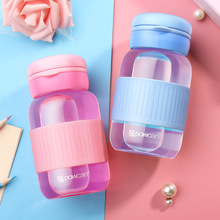 Students Cute Portable Crystal Glass Water Bottle Healthy 320ml Kids Drink Outdoor Sports BPA Free with Rope Custom Logo