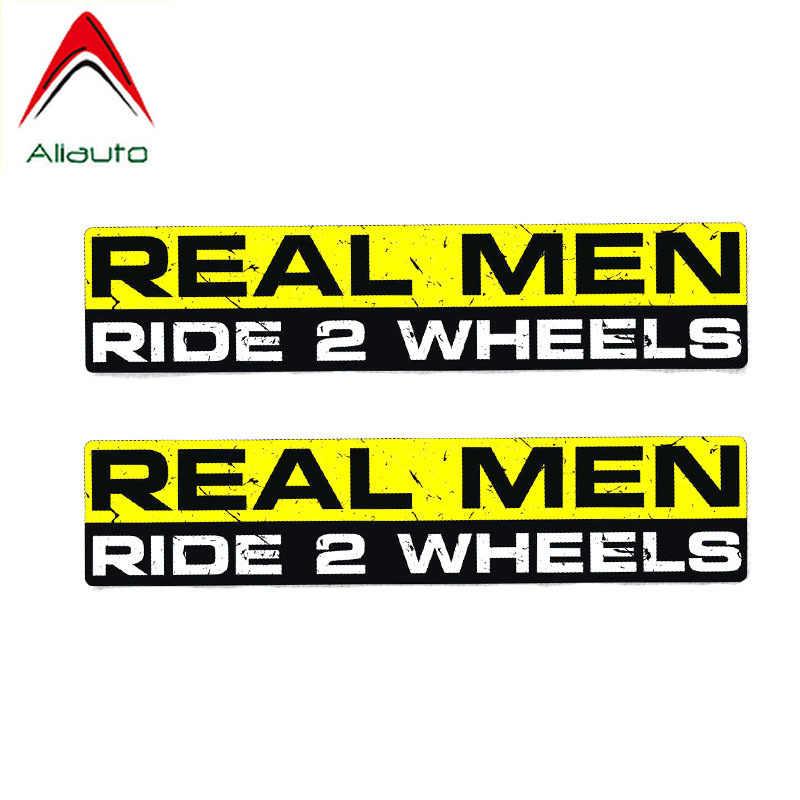 Aliauto 2 X di Avvertimento Adesivo Auto Divertente Reale Corsa Degli Uomini di trasporto 2 Ruote Decal Accessori IN PVC per il Motociclo Della Bicicletta Jeep BMW audi, 15cm * 3 centimetri
