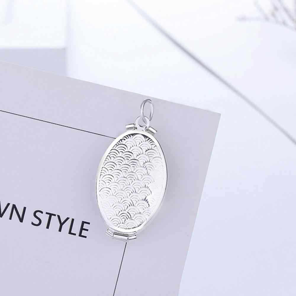 Fashion Photo Frame Memory Locket Pendant Necklace Gold Romantic Vintage Rose Flower 925 silver Jewelry Women Gift @6