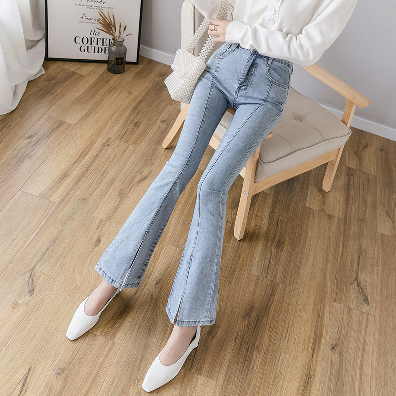 Micro Trumpet Jeans Women's High-waisted Slimming 2019 Autumn New Style Korean-style Cowboy Bell-bottom Pants