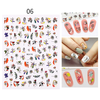 1PC Face Pattern 3D Nail Stickers Spring Summer Theme Green Leaves Flower Decals Slider Colorful DIY Nail Art Decoration image