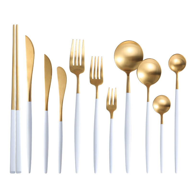 Новая золотая вилка ложка нож портативный набор столовых приборов из нержавеющей стали западные столовые приборы Рождественский подарок Кухонная Посуда Прямая поставка