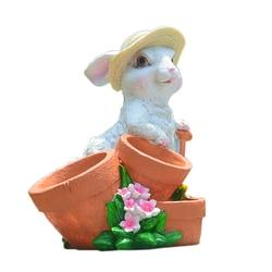 Wielkanocne dekoracje dla domu nowy rok śliczne królik figurki blat ozdoby bajki ogród w Dekoracyjne gobeliny od Dom i ogród na