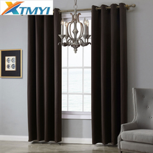 מודרני מוצק צבע Blackout וילונות לסלון חדר שינה חלון טיפול תריסים כהה אפור מטבח וילונות וילונות Custom