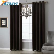 Moderno cor sólida cortinas blackout para sala de estar quarto tratamento janela cortinas cozinha cinza escuro personalizado