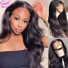 Perruque de cheveux naturels brésiliens, Frontal, Body Wave, Remy Hair, 13x4, Lace transparente, pre plucked, avec Baby Hair