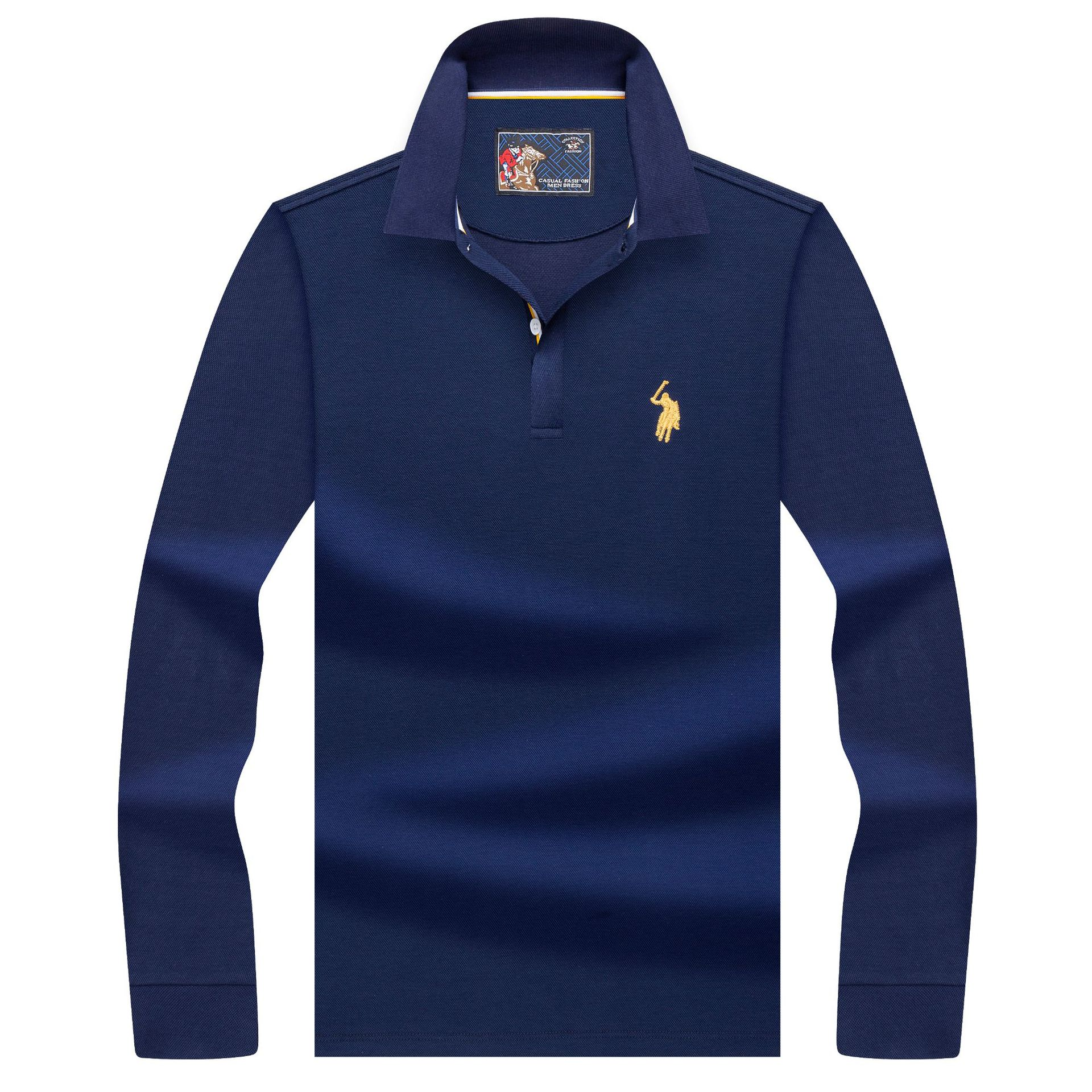 High Quality Tops&Tees Solid Color Men Polo 3D Embroidery Business Casual Polo Shirts Winter Long Sleeve Polo Shirt Man Brand