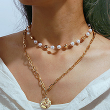 Fashion new creative retro simple irregular head seal artificial pearl double necklace For Women цены