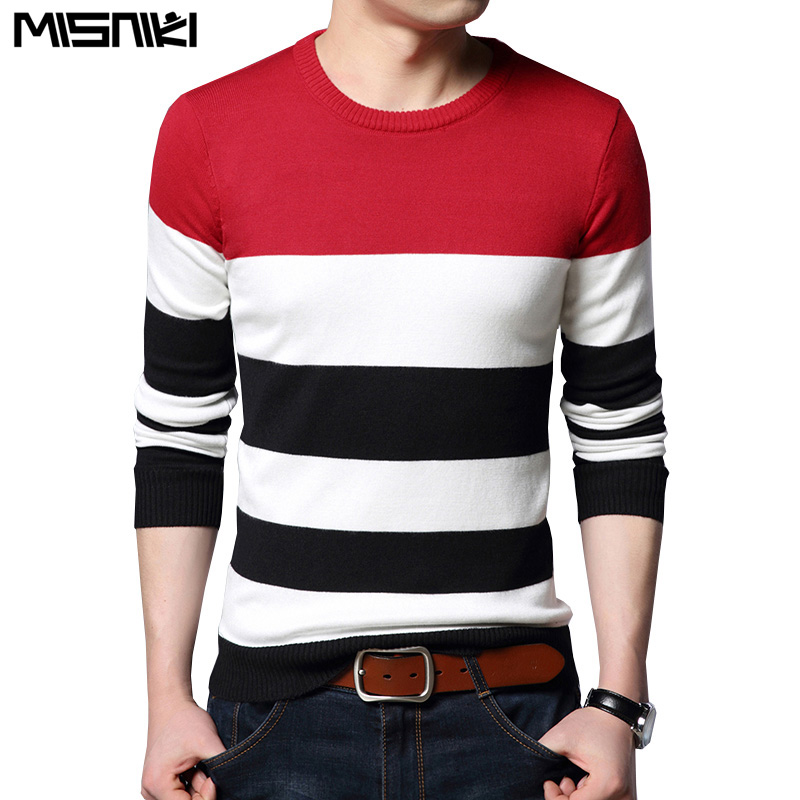 Misniki 2019 Autumn Casual Men's Sweater O Neck Striped Slim Fit Knittwear Mens Sweaters Pullovers Men Pull Homme S-3XL JP52