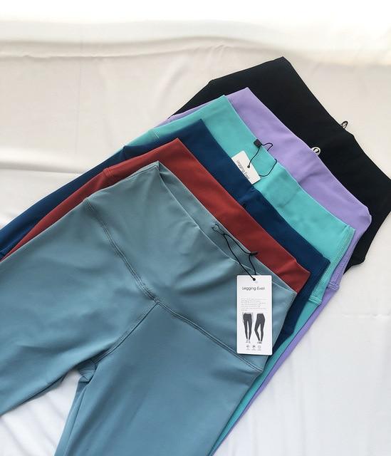 LULU Original Factory Capri Yoga Pants Skin Bare Sense High-waisted Moon-Yoga Pants Peach Hip Buttock Lifting Sports