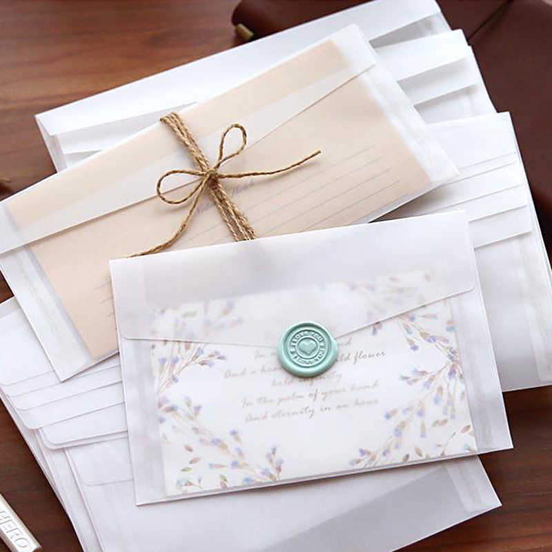 10 ชิ้น/ล็อตที่กำหนดเองโปร่งใสซองจดหมายกระดาษโปร่งแสงซองชุดวินเทจงานแต่งงานซองการ์ด