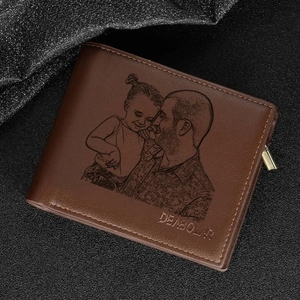 Image 2 - Engraving Picture Wallet DIY Customized Image Carving Text Mens  Short Slim Three Fold Leather Fathers Day Zipper Coin Purse