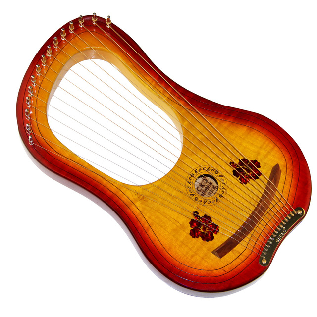 GECKO 15 String Wooden Lyre Harp Metal Strings Canada MAPLE  String Instrument with Carry Bag