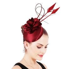 Female Feathers Headwear With Headband Satin Marron Wedding Fascinator Hat Gorgeous Accessories Nice Flower Chapeau High Quality