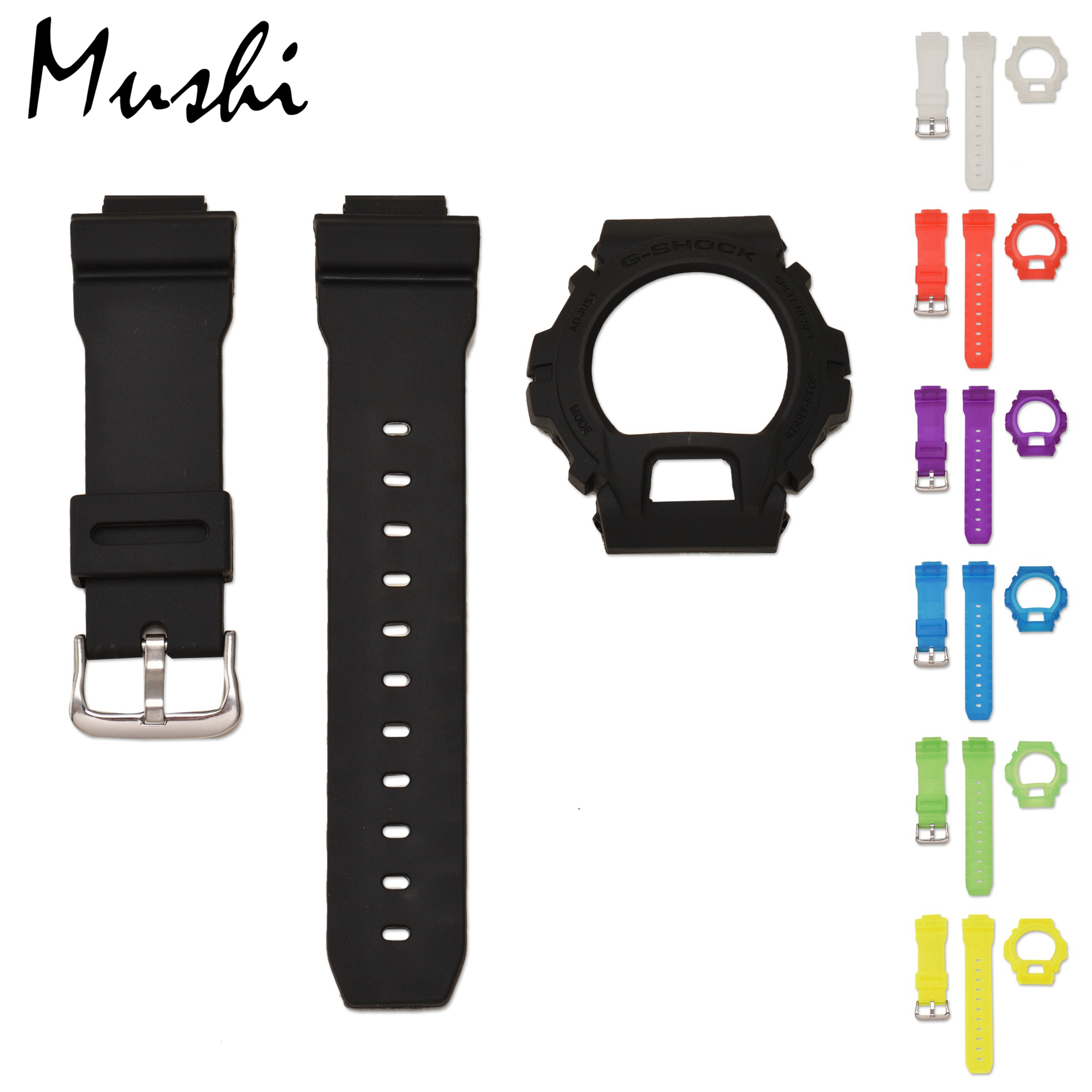 Mushi Rubber For Casio DW 6900 Black Translucent Blue Yellow Red Green Violet Strap Pin Buckle Watch Band Watch Case With Tool