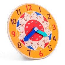 Монтессори Обучающие деревянные часы игрушки час минуты секунды познание Разноцветные часы Раннее Обучение детские игрушки для детей подарок
