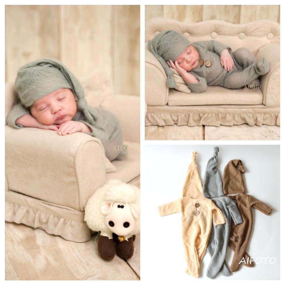 Mohair Roupas Recém-nascidos Do Bebê Roupas de Menina Recém-nascidos Fotografia Props Chapéus Menino Conjunto Romper Do Bebê Adereços Cabine de Fotos Acessórios de Estúdio