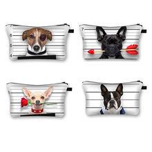 Bonito cão 3d impresso cosméticos sacos bonito pug feminino maquiagem sacos organizador necessáries para viajar casos cosméticos
