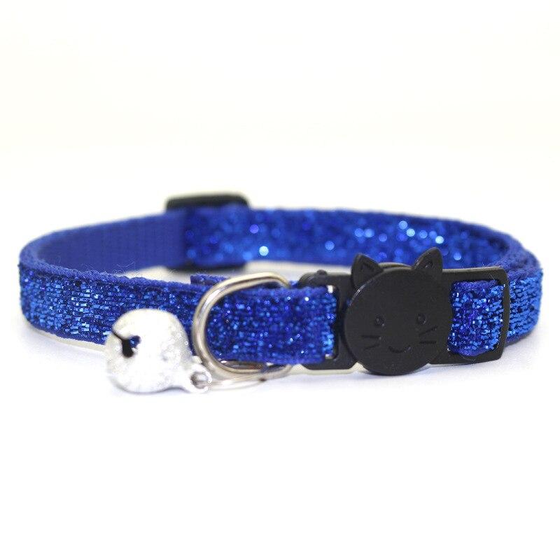 Ошейник для питомца кота с колокольчиком, модный Регулируемый ошейник для котенка, кошки с блестками, шейный ремень, аксессуары для животных принадлежности для кошек - Цвет: Blue