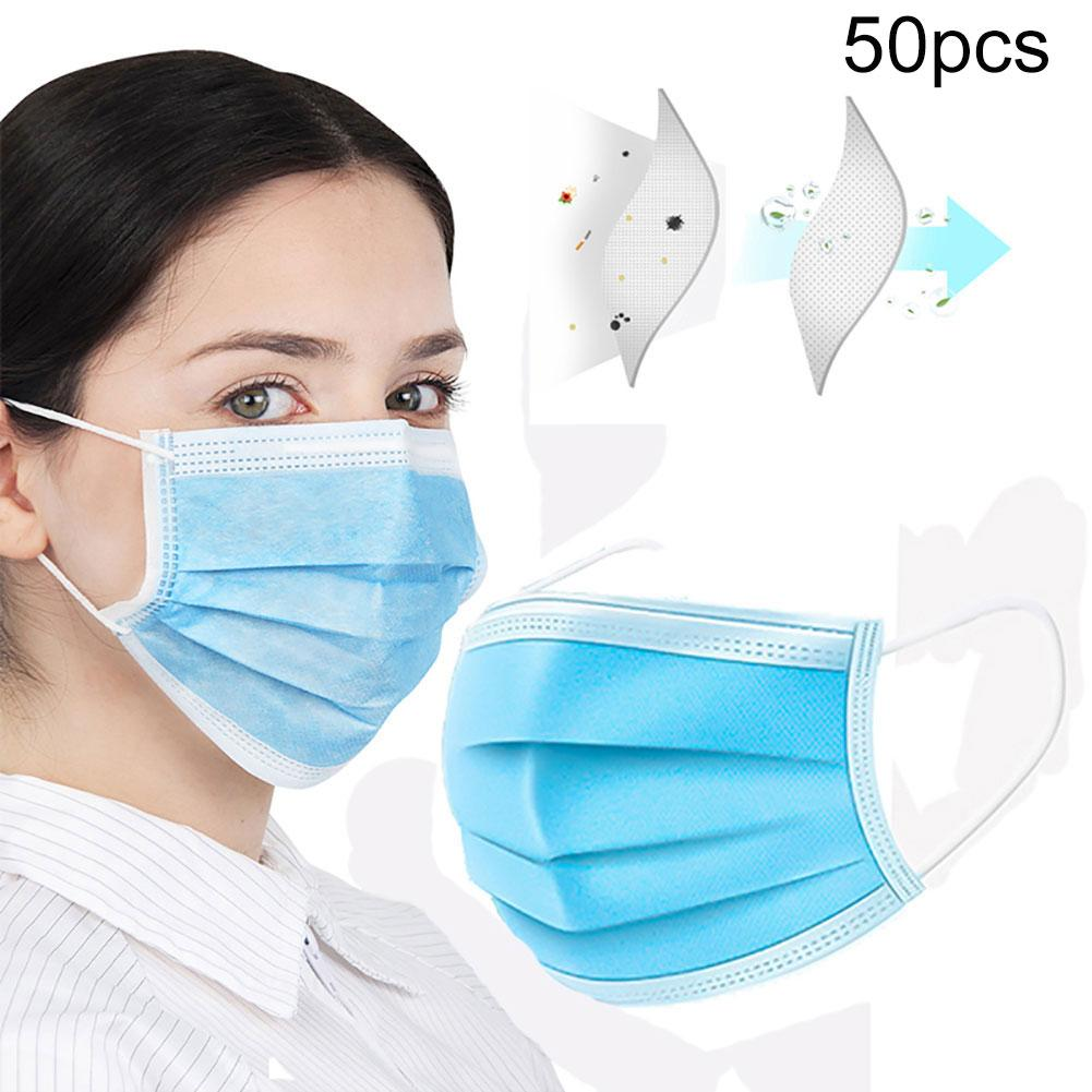 50Pcs Disposable PM2.5 Anti Haze Dust Antibacterial Protection Face Mouth Mask Anti Dust Allergy Masca In Stock Fast Shipments