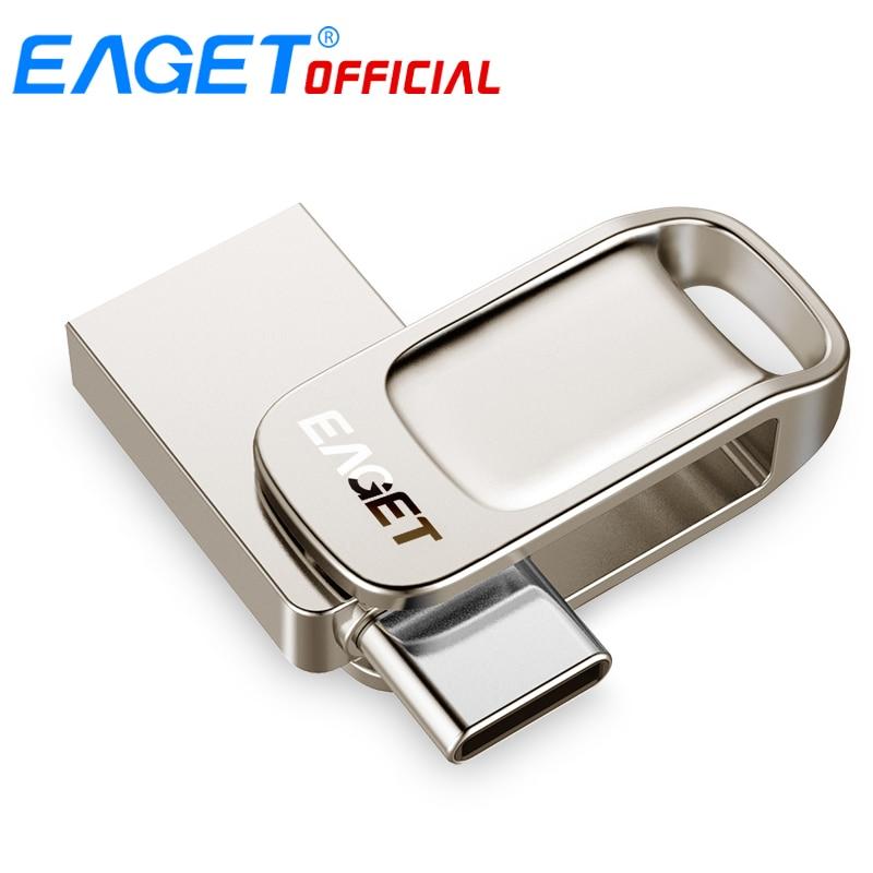 Eaget CU31 OTG USB3 1 Flash Drive Mini Flash Disk Type-C High Speed Pendrive 16G 32G 64G 128G Type-C Interface USB Flash Drives
