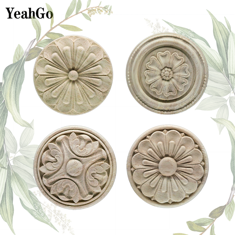 European Style Wood Furniture Background-wall Home Decoration Woodcarving Decals And Wood-applique Accessories YeahGo
