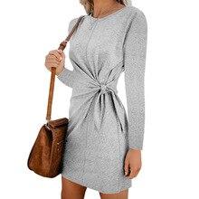 Bodycon Long Sleeve Mini Dress Women 2019 Autumn Bow O-Neck Solid Short Bandage Dress Casual Loose Plus Size Dresses цены