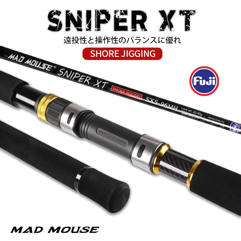 Top MADMOUSE снайперский XT 2,9 m 96H/96MH запчасти Fuji, перекрестная углеродистая приманка 20-120g PE 1-5 # морская рыболовная удочка