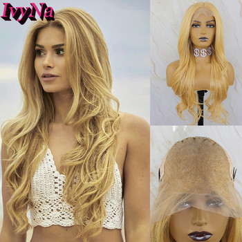 IvyNa Golden Mixed Blonde Synthetic Lace Front Wig 13x6 Futura Heat Resistant Hair Long Wavy Lace Front Wig Highlight Yellow Wig ivyna golden mixed blonde synthetic lace front wig 13x6 futura heat resistant hair long wavy lace front wig highlight yellow wig