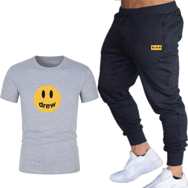 2019 Summer  Tracksuits Men's Print Sets Short Sleeve Sportswear Men Casual Sports Suit T-Shirt+trousers 2 Pieces