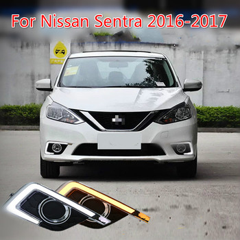 цена на car-styling For Nissan Sentra 2016 2017 LED driving DRL with Daytime Running Light style Daylight Fog Head Lamp