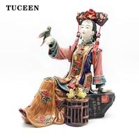 Home Decor Ceramic Decorative Statues Manual Figurine Pottery Figure Ceramic & Enamel House Decoration People Collectible
