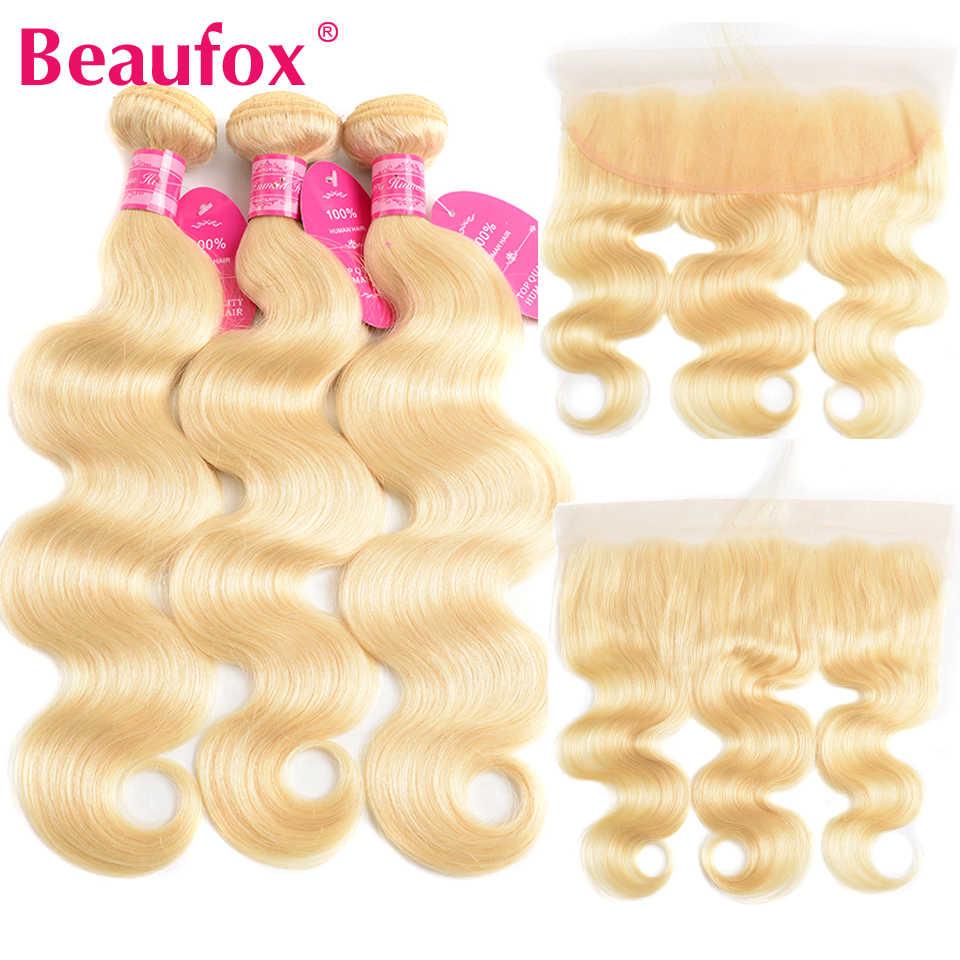 Beaufox 613 paquetes rubios con onda Frontal brasileña del cuerpo con el cierre Frontal del cordón del pelo humano de Remy Frontal con el paquete