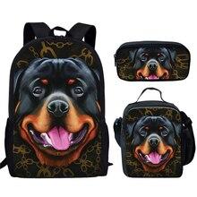 3шт% 2FSet дети собака школа сумки для мальчиков девочек ротвейлер% 2F Doberman% 2FPitbullI% 2FLabrador рюкзак дети начальная школа книга сумка школьная сумка