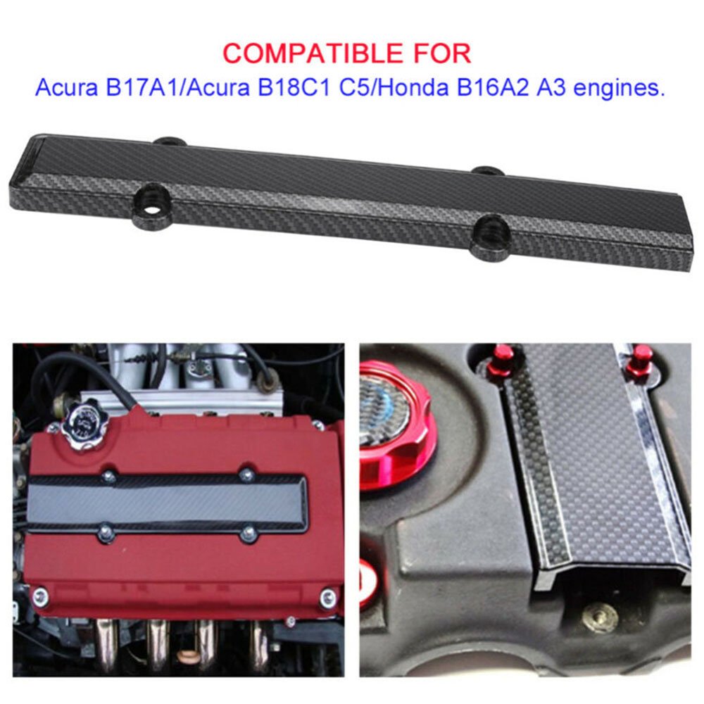 Carbon Fiber Style Engine Valve Cover Spark Plug Insert For Honda Civic B Series