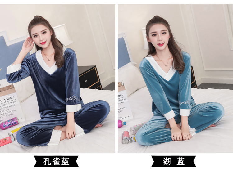 Girls Gold Velvet Pajamas Sets Women Autumn Winter Long Sleeve V-Neck Velour Pyjama Suit Warm Sleepwear Homewear Home Clothes 66