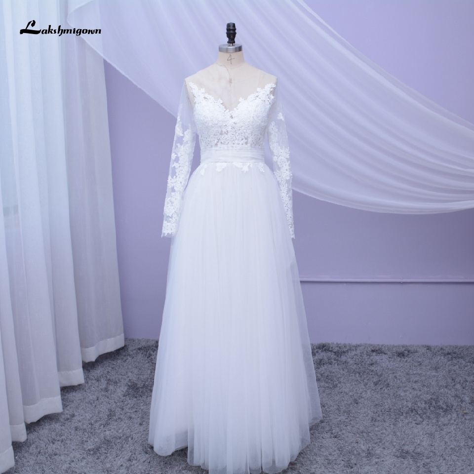 Lakshmigown Simple A Line Wedding Dress Long Sleeve Boho Style 2020 Vintage Lace Applique Bridal Dress Floor Length Wedding Gown