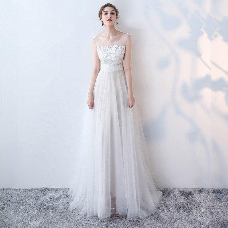White Shoulder Long Evening Gown Women's 2019 New Style Nobility Elegant Banquet Host Dress Slim Fit Lace