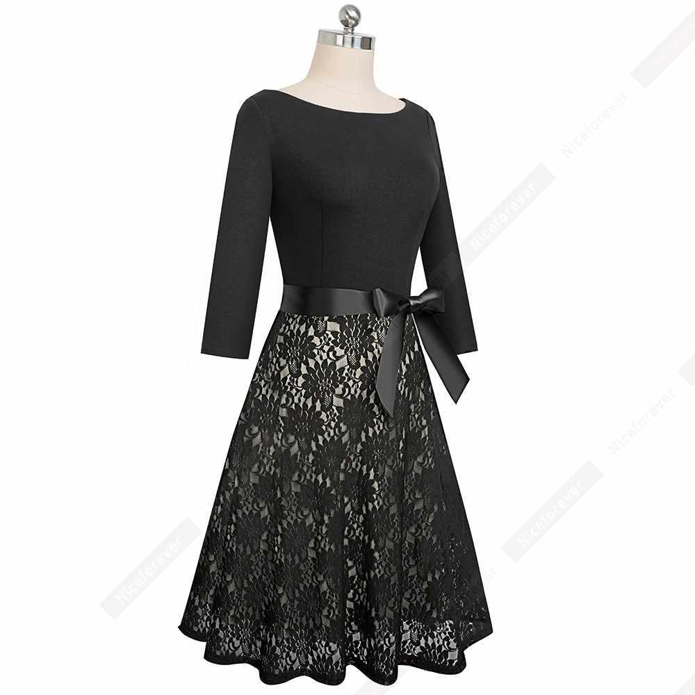 Женское элегантное Сексуальная кружевная полая очаровательное вечернее платье винтажное платье трапециевидной формы с бантом HA160