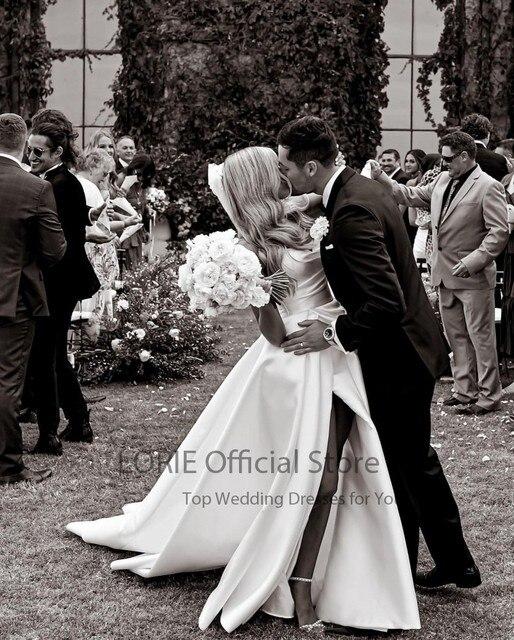LORIE Satin Wedding Dresses Strapless A-Line Bridal Gowns Princess Custom Made High Split Wedding Gown vestido de noiva 2021 4