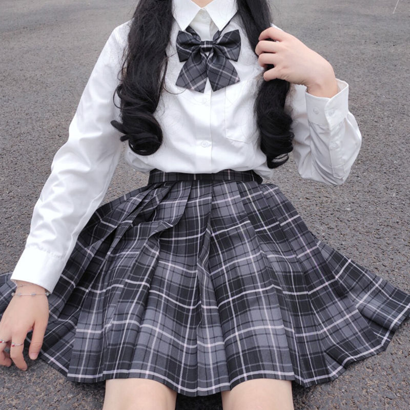 2020 Summer Korean High Waist Pleated Skirts Black Gothic Sexy Cute Mini Plaid Skirt Women JK Uniform Students Clothes Y2K 90S 2