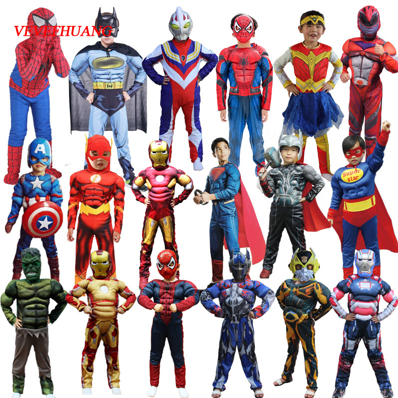 VEVEFHUANG Christmas Boys Movie Muscle Super Hero Captain America Costume Spider Batman Hulk Avengers Costumes Cosplay For Kids
