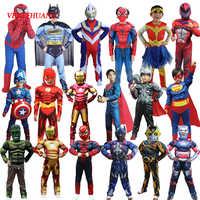 VEVEFHUANG noël garçons film Muscle Super héros capitaine amérique déguisement araignée Batman Hulk Avengers Costumes Cosplay pour les enfants