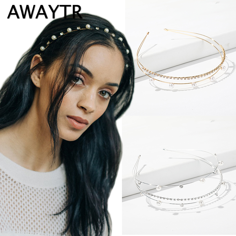 AWAYTR Korean Pearl Rhinestone Hairband for Women Wedding Hair Hoop Crystal Tiara Bridal Wedding Hair Accessories Headdress