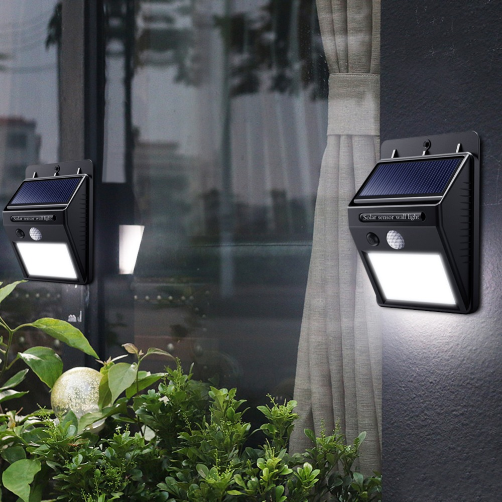 Solar LED Street Light For Home  20 35 100 Leds Solar Light Waterproof Garden Fence PIR Motion Sensor Detection Wall Lamps