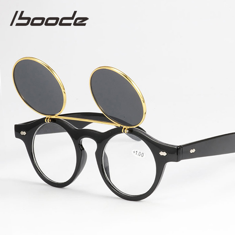 Iboode Vintage Round SteamPunk Flip Up Reading Sun Glasses Women Men Reader Classic Double Layer Sunglasses With Diopter +1~+3.5