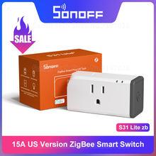 Itead sonoff s31 lite zb zigbee eua versão 15a zigbee tomada inteligente trabalho com smartthings hub controle de voz via alexa